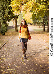Colorful fall fashion. - Colorful fall fashion, portrait of...