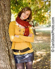 Portrait of a colorful fall fashion girl. - Portrait of a...