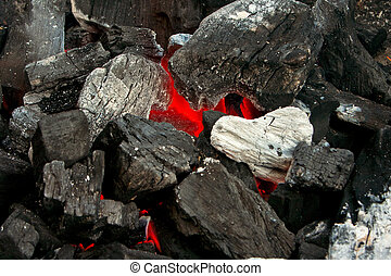 Barbecue Coals - 2 - Close up of burning coals on a barbecue