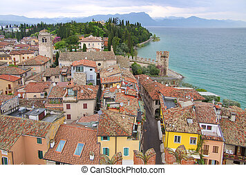 Old town of Sirmione on Lake Garda in Brescia, Lombardy,...