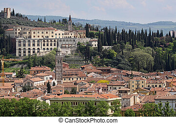 View over the old town of Verona seen from the Torre dei...