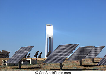 Photovoltaic panels and a tower of a Solar Power Station