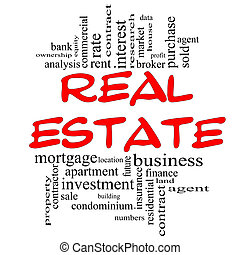 Real Estate Word Cloud Concept in red & black with great...