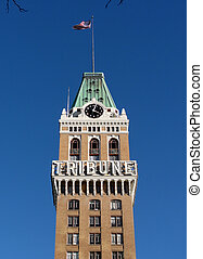 Oakland Tribune Clock Tower in Downtown Oakland, California.