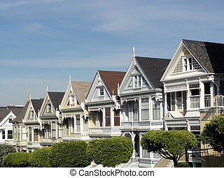 Painted Ladies of San Francisco in California - Row of...