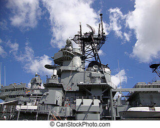 USS Missouri radar and satellite towers at midship on Oahu,...