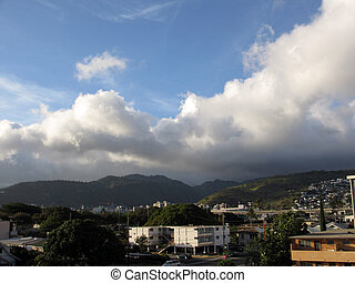 Kapahulu Town Scape in Honolulu, Hawaii with mountain ranges...