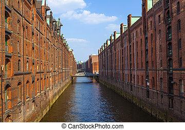 Speicherstadt in Hamburg - famous old Speicherstadt in...
