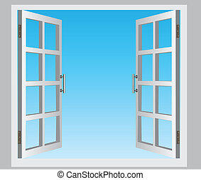 Open window - The open casement windows, the blue sky Vector...