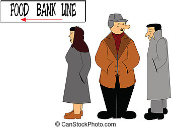food bank line - concept of food bank line up in todays...