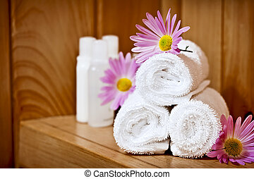 White rolled up spa towels