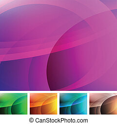 Abstract Swirl Background - Set of colorful abstract...