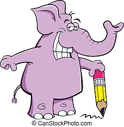 Elephant with a pencil