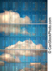 Sky reflected in glass