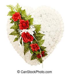 Silk funeral flower arrangement in broken heart design