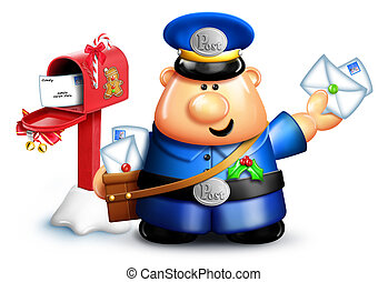 Whimsical Cartoon Christmas Mailman - Whimsical Cartoon...