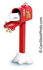 Whimsical Cartoon Christmas Mailbox with Letter