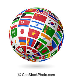 Flags globe. Asia. - Vector illustration