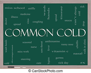 Common Cold Word Cloud Concept on a Blackboard - Common Cold...