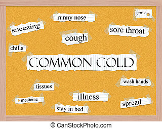 Common Cold Corkboard Word Concept with great terms such as...