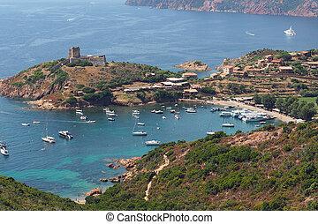 Girolata harbor, Corsica - Girolata village, genovese fort,...