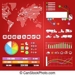 Cargo infographics Trucks trajectories on world map