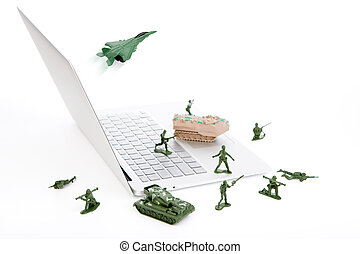 Computer security concept : soldiers,tank,plane are guarding...
