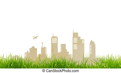 Paper cut of city and grass