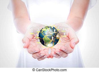 Donne, mano, presa, Terra, sociale, rete, (Elements, questo,...