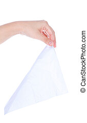 Woman hand pulling a facial tissue isolated on white...
