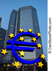 Euro Sign in Frankfurt - The Famous Big Euro Sign in early...