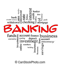 Banking Word Cloud Concept in red and black - Banking Word...