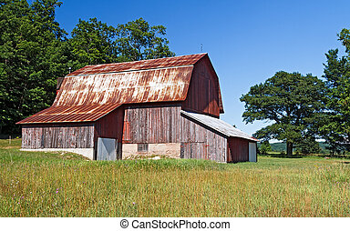 Weathered Old Barn - Large cattle barn on the Charles Olsen...