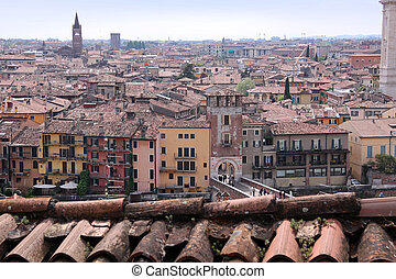 Overlooking the old town of Verona seen from the hill of San...