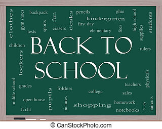Back to School Word Cloud Concept on a Blackboard with great...