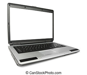 Angled New Laptop - Wide angled laptop isolated with...