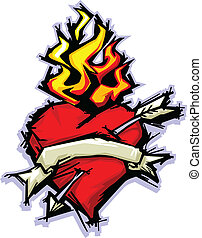 Flaming Heart with Arrow and Banner Vector Illustration -...