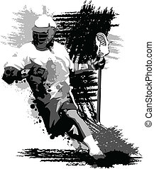 Lacrosse Player Splatter Vector Illustration - Graphic...
