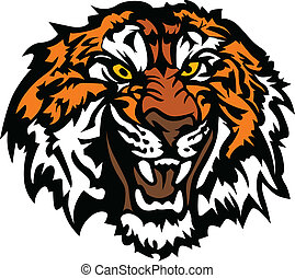 Tiger Head Snarling Graphic Mascot - Graphic Mascot Image of...