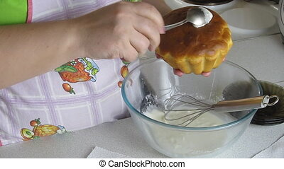 homemade cooking - woman decorate homemade cake