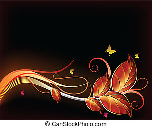 Golden floral background. Vector