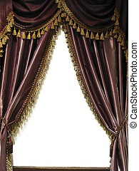 Opera curtains. - Opened red opera curtains.