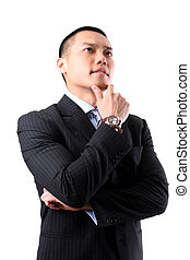 Handsome young asian business man thinking - Closeup of a...