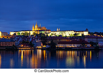 Night view of Prague - river Vltava, Gradchany, St. Vitus's cathedral