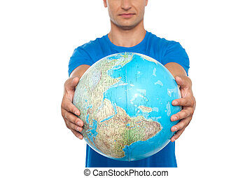 Closeup shot of man holding globe