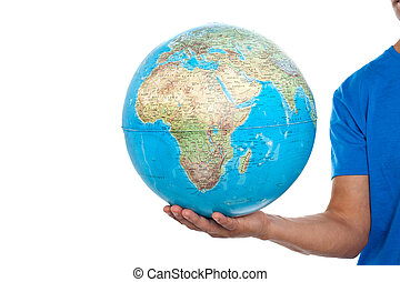 Cropped image of man holding globe