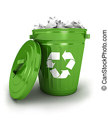 3d recycle trash can icon with papers, isolated white...