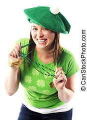 Irish young lady dressed for st patricks day - Irish young...