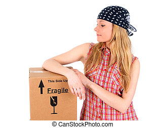 Cute girl with a parcel - Cute girl wearing bandanna with a...