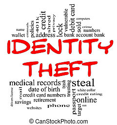 Identity Theft Word Cloud Concept in red and black -...